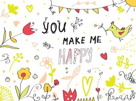 me: You make me happy greeting card floral design