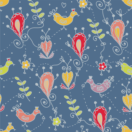 Seamless floral pattern with birds, ethnic motives, lines  Vector