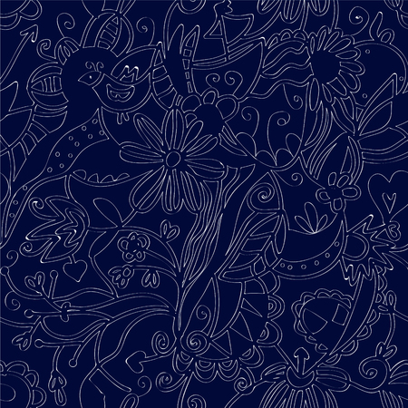 linework: Floral seamless pattern linework ethnic design  Illustration