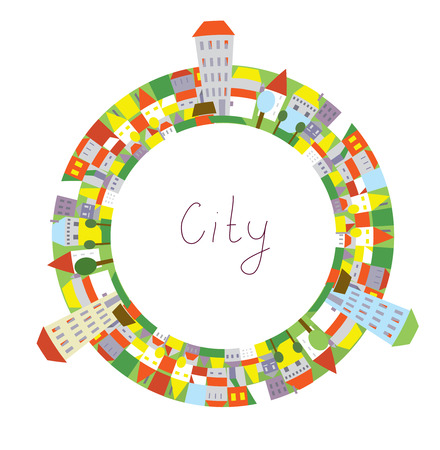 city people: Cartoon of city circle frame with funny houses for kids