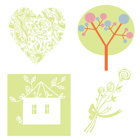 Eco set with tree, heart, house, flowers  Vector