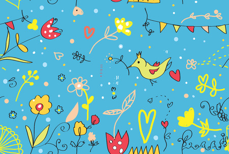 Seamless floral seamless pattern or border cute design Vector