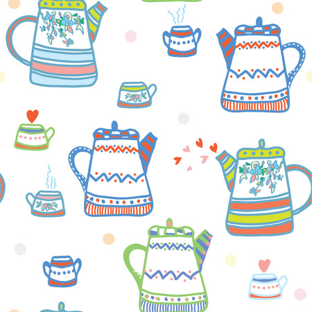 Tea seamless pattern with pots and cup cute design Vector