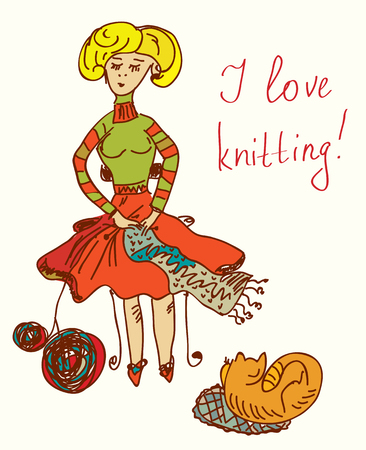 I love knitting card with funny woman cute design Vector