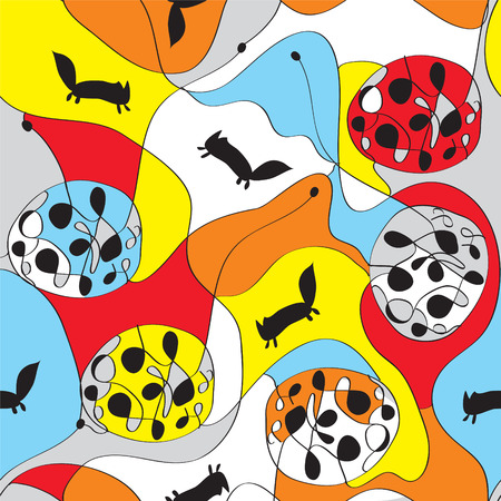 whimsical pattern: Seamless whimsical pattern with foxes design