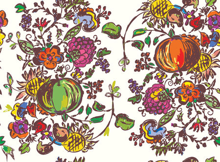 Seamless pattern with fruits for autumn hand drawn art Vector