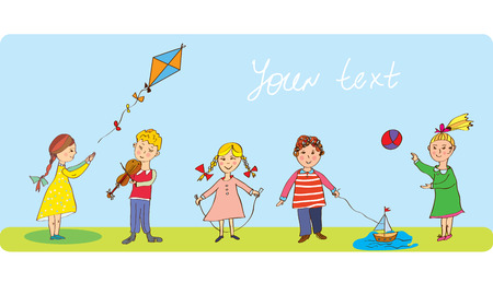 Kids playing - funny banner with cute design Vector
