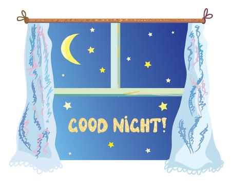 Goede nignt illustratie met raam schattig, sterren en de maan Stock Illustratie