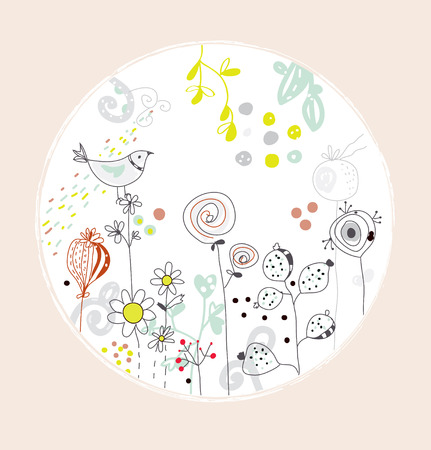 Greeting card with flowers, bird - circle design cute Vector