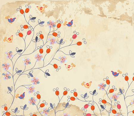 Floral background on paper texture with roses and birds Vector