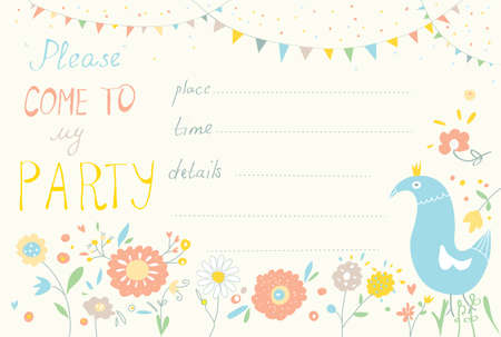 Party invitation with flower and bird cute design - template Vector