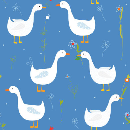 Funny seamlesss pattern with goose and flower cute design Vector