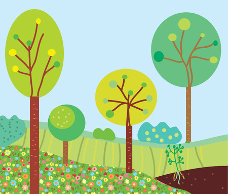 Funny garden landscape with trees and flowers Vector