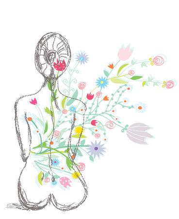 女性と花のスケッチとスパ イラスト