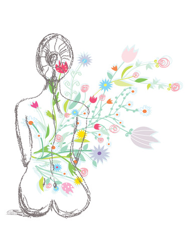 massage face: Spa illustration with woman and flowers sketch