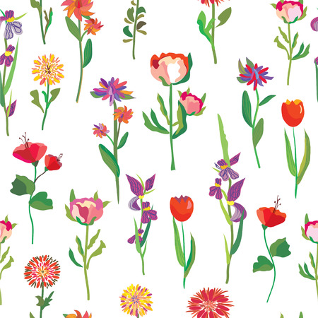 Seamless flowers pattern for garden and textile Vector