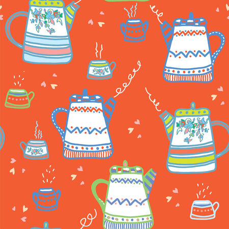 Tea seamless pattern wih cups and pots funny design Vector