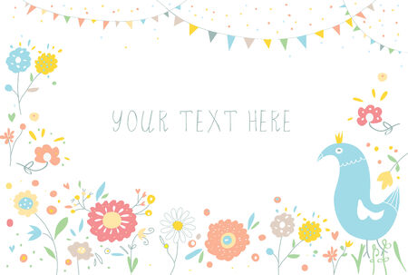 Greeting background with flowers for invitation or banner