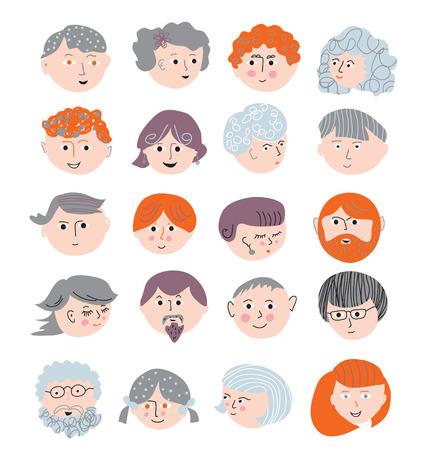 hair part: People faces funny set cute design Illustration