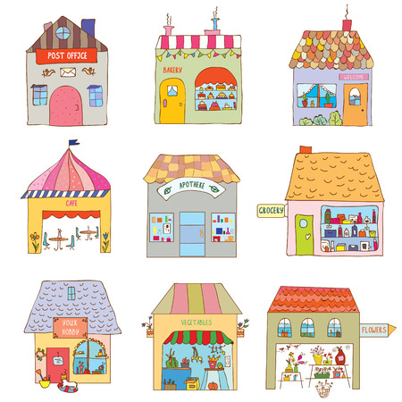 residential neighborhood: Houses of the funny town set - companies and offices illustration