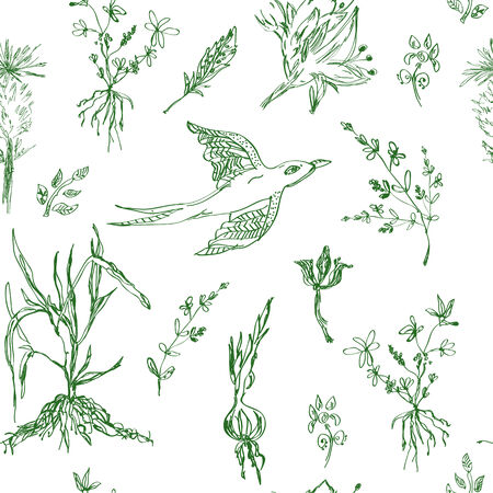 Garden flowers seamless pattern sketch style Vector