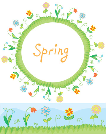 Spring flowers frame and border illustration