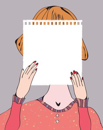 Girl holding paper for text illustration retro design Illustration