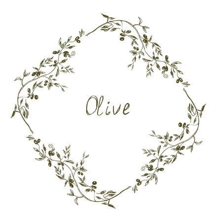 Olive frame hand drawn design illustration Vector