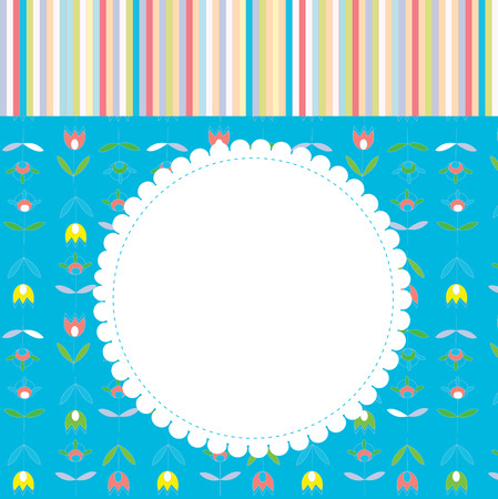 Greeting card for baby or child with pattern and frame  Vector