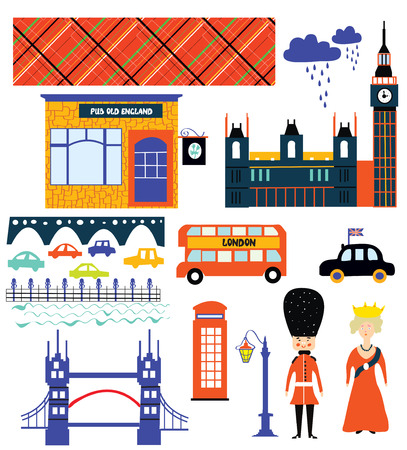 London landmarks and symbol set funny design illustration Vector