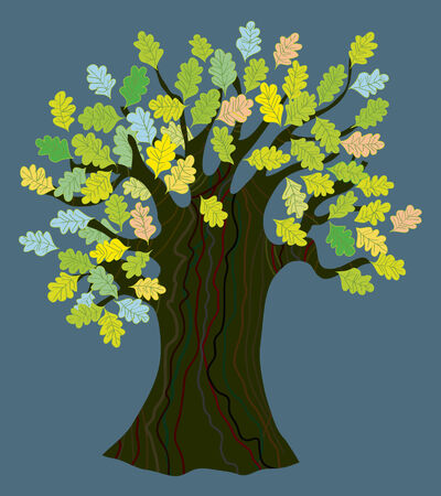 Oak tree with leaves Vector