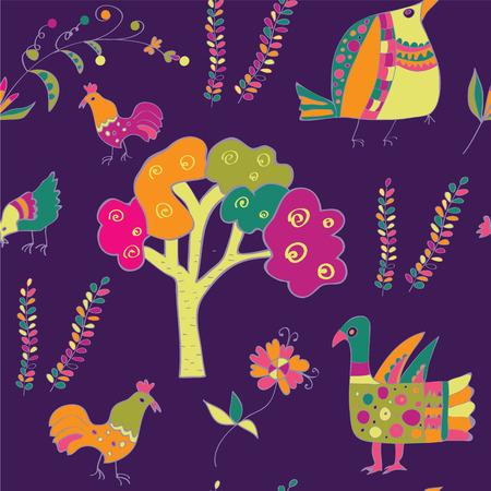 ethno: Ethnic seamless pattern with birds Illustration