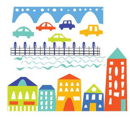 City elements - houses, cars, bridge - cartoon illustration Vector