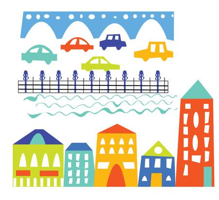 lake district: City elements - houses, cars, bridge - cartoon illustration Illustration