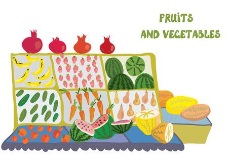 shop display: Fruits and vegetables market counter - illustration Illustration