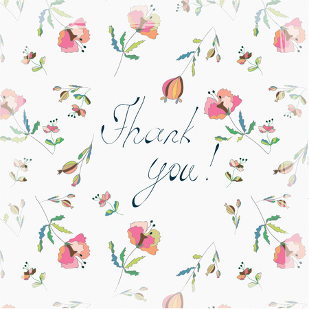 Thank you floral greeting card with poppies Vector