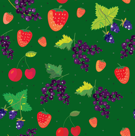 Berries seamless pattern - strawbery, blackberry, cherry illustration Vector