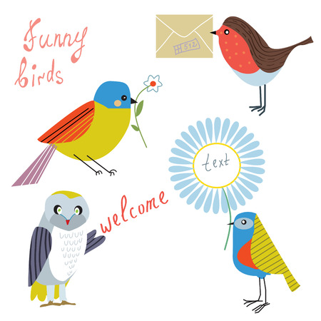 birdsong: Funny bird with message, flowers, letters set
