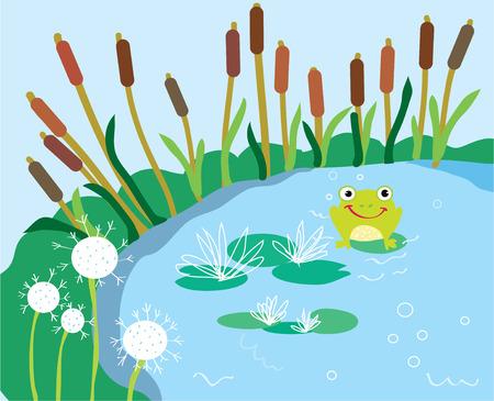 릴리와 개구리 재미 카드 호수 만화 일러스트