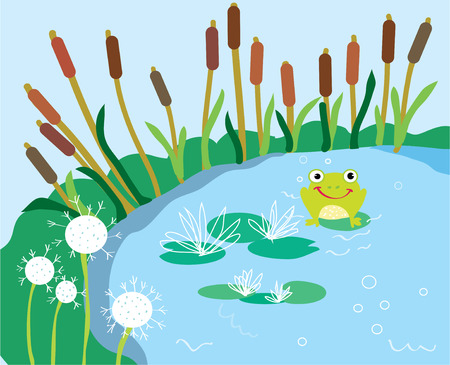 Lake cartoon met lelie en kikker grappige kaart Stock Illustratie