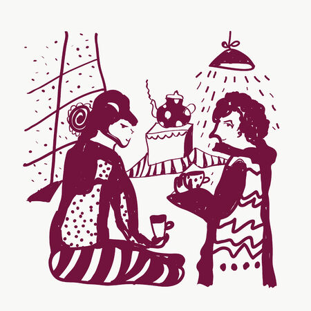 woman sketch: Tea and man and woman sketch funny illustration