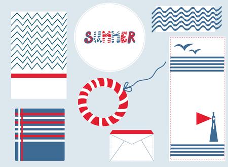 backgrouns: Marine design backgrouns set for summer illustrations