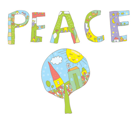 banner of peace: Peace word design with tree, flowers, birds for children
