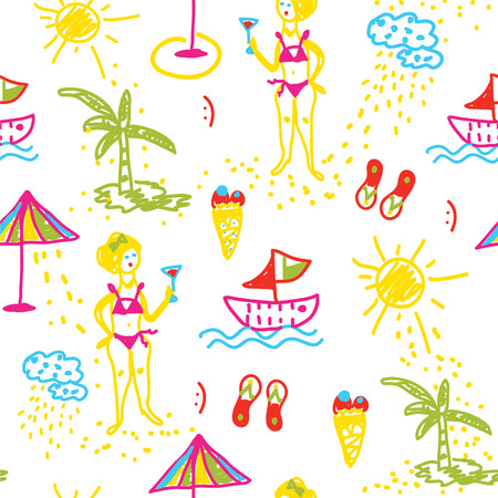 Funny beach seamless pattern hand drawn design sketch Vector