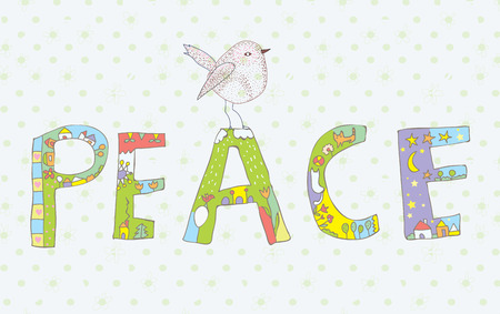 banner of peace: Peace background with sign and bird cute design