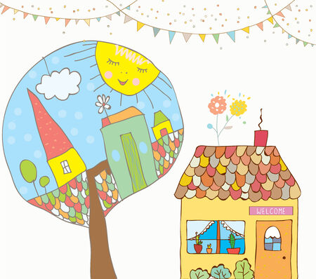 Greeting card or invitation with house, trees, bunting flags for kids - funny background Vector