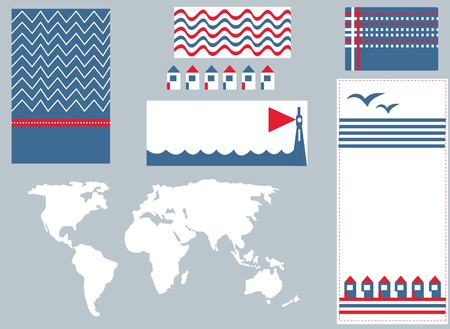 Sea banner and infographic elements set cute design Vector
