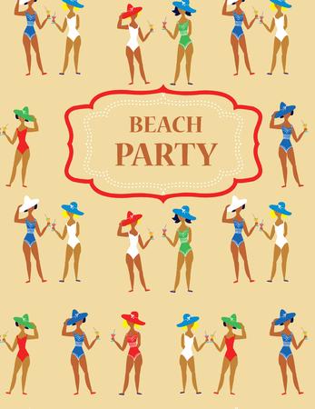 Beach party funny invitation - cartoon vintage style Vector