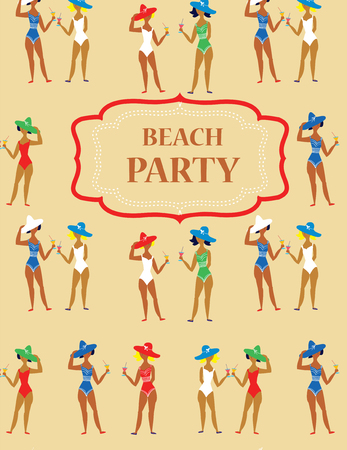 swimsuite: Beach party funny invitation - cartoon vintage style Illustration