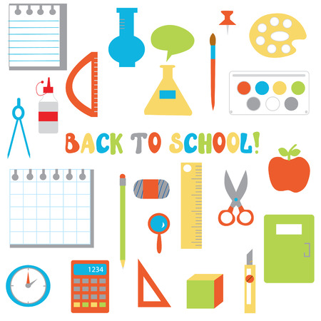 Back to school icons set  - funny flat design for children Vector